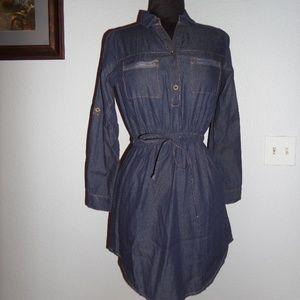 Women's Casual STREET BLUES V Neck BLUE Dress Sz.S
